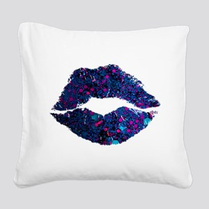 Glitter Lips Square Canvas Pillow