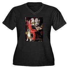 Lady & Boxer Women's Plus Size V-Neck Dark T-Shirt