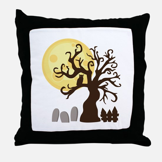 Creepy Halloween Tree Graveyard Throw Pillow
