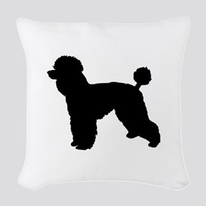 poodle black 1C Woven Throw Pillow