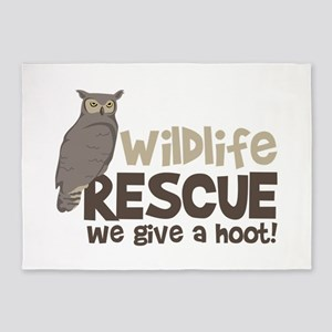 Wildlife Rescue We give a hoot! 5'x7'Area Rug