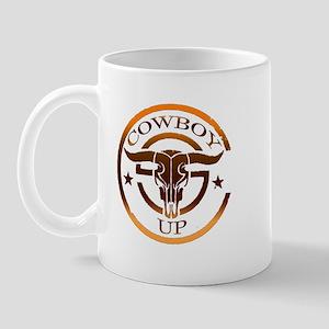 Cowboy Up Bull Skull Logo Mug