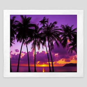Purple Tropical Sunset 2 King Duvet