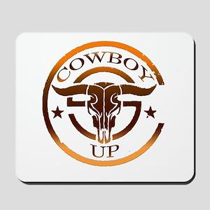 Cowboy Up Bull Skull Logo Mousepad