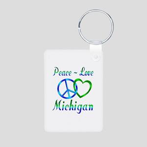 Peace Love Michigan Aluminum Photo Keychain