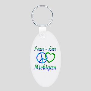 Peace Love Michigan Aluminum Oval Keychain