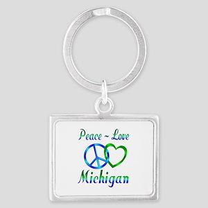 Peace Love Michigan Landscape Keychain