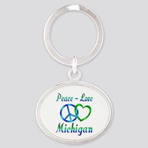 Peace Love Michigan Oval Keychain