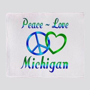 Peace Love Michigan Throw Blanket