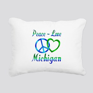Peace Love Michigan Rectangular Canvas Pillow