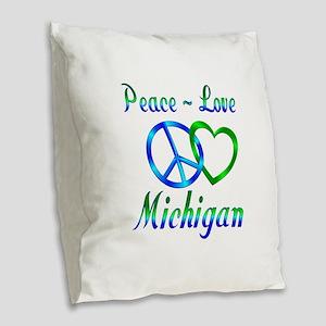 Peace Love Michigan Burlap Throw Pillow