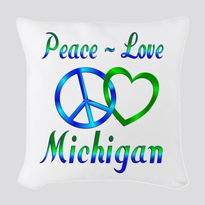 Peace Love Michigan Woven Throw Pillow