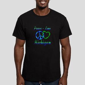 Peace Love Michigan Men's Fitted T-Shirt (dark)