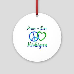 Peace Love Michigan Ornament (Round)