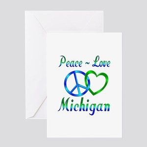 Peace Love Michigan Greeting Card