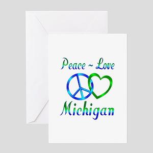 Michigan greeting cards cafepress peace love michigan greeting card m4hsunfo Images