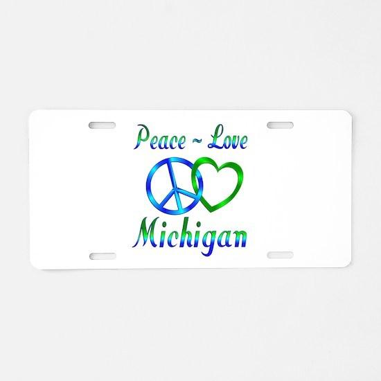 Peace Love Michigan Aluminum License Plate