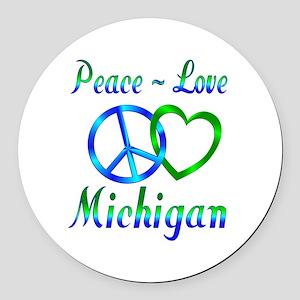 Peace Love Michigan Round Car Magnet
