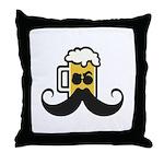 Beer Mustache Throw Pillow