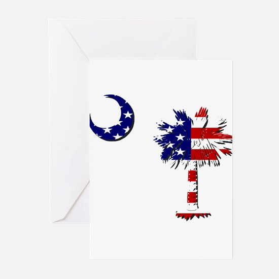 Red White and Blue Palmetto Greeting Cards (Packa
