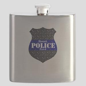 Police Diamond Plate Badge Flask