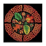 Celtic Autumn Leaves Tile Coaster