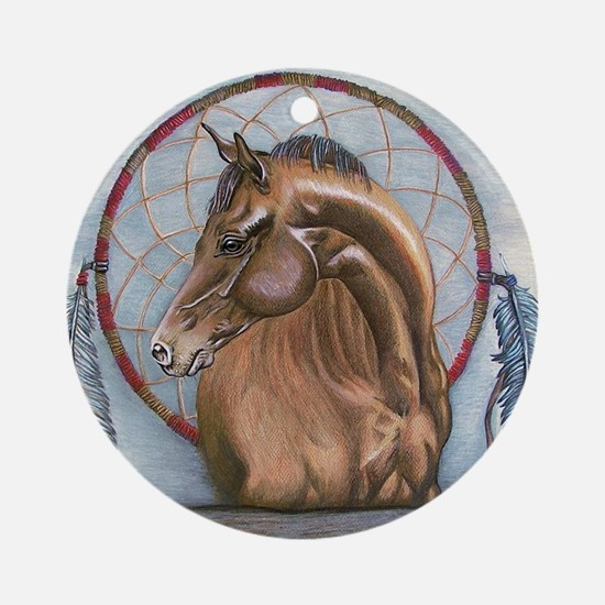 Horse with Dreamcatcher Round Ornament