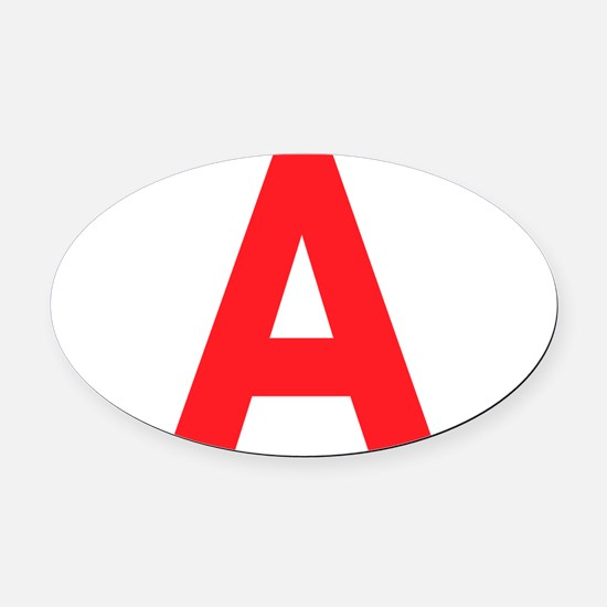 Letter A Red Oval Car Magnet