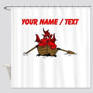 Custom Red Dragon On Boat Shower Curtain