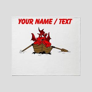 Custom Red Dragon On Boat Throw Blanket