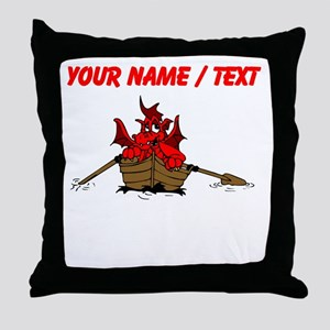 Custom Red Dragon On Boat Throw Pillow