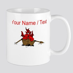 Custom Red Dragon On Boat Mugs