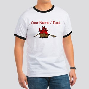 Custom Red Dragon On Boat T-Shirt