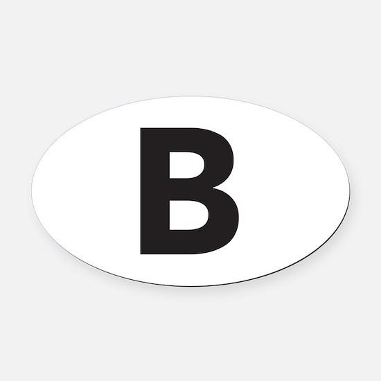 Letter B Black Oval Car Magnet