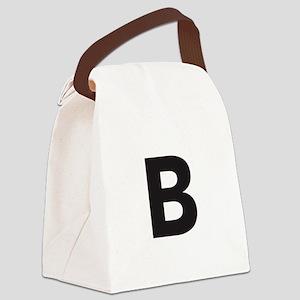 Letter B Black Canvas Lunch Bag