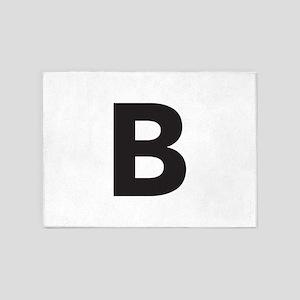 Letter B Black 5'x7'Area Rug