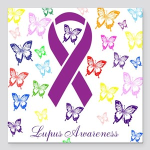 Lupus Multicolored Butterfly Awareness Square Car