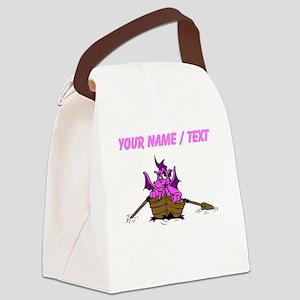 Custom Pink Dragon On Boat Canvas Lunch Bag