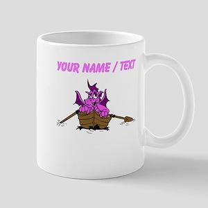 Custom Pink Dragon On Boat Mugs