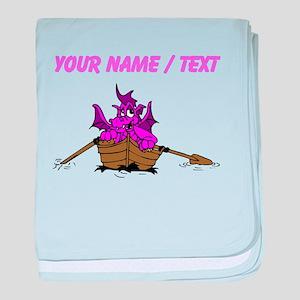 Custom Pink Dragon On Boat baby blanket