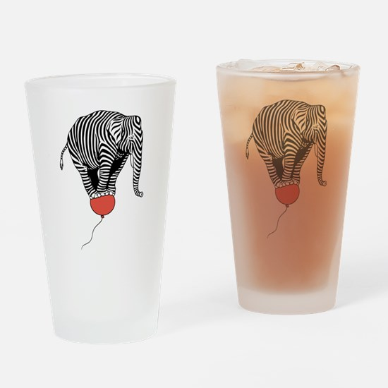 Flying Elephant Zebra Drinking Glass