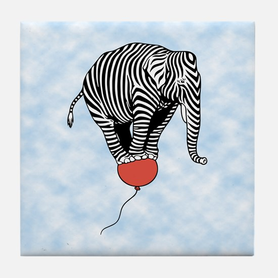Flying Elephant Zebra Tile Coaster