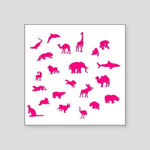 "Pink Animals Square Sticker 3"" x 3"""