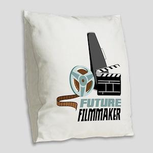 Future Filmmaker Burlap Throw Pillow