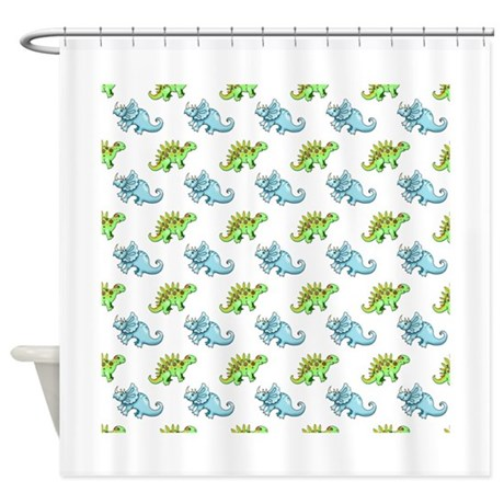 cute dinosaurs shower curtain by robmolily. Black Bedroom Furniture Sets. Home Design Ideas