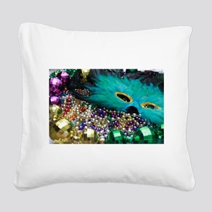 Carnival Spirit of Mardi Gras Square Canvas Pillow