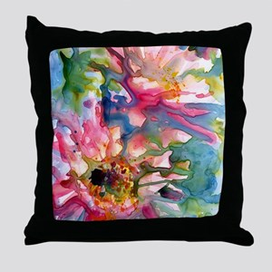 Cactus Flowers Watercolor Throw Pillow
