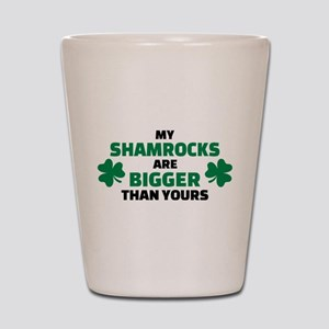 My shamrocks are bigger than yours Shot Glass