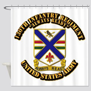 DUI - 130th Infantry Regt w Text Shower Curtain
