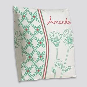 Decorative Floral Pattern Burlap Throw Pillow